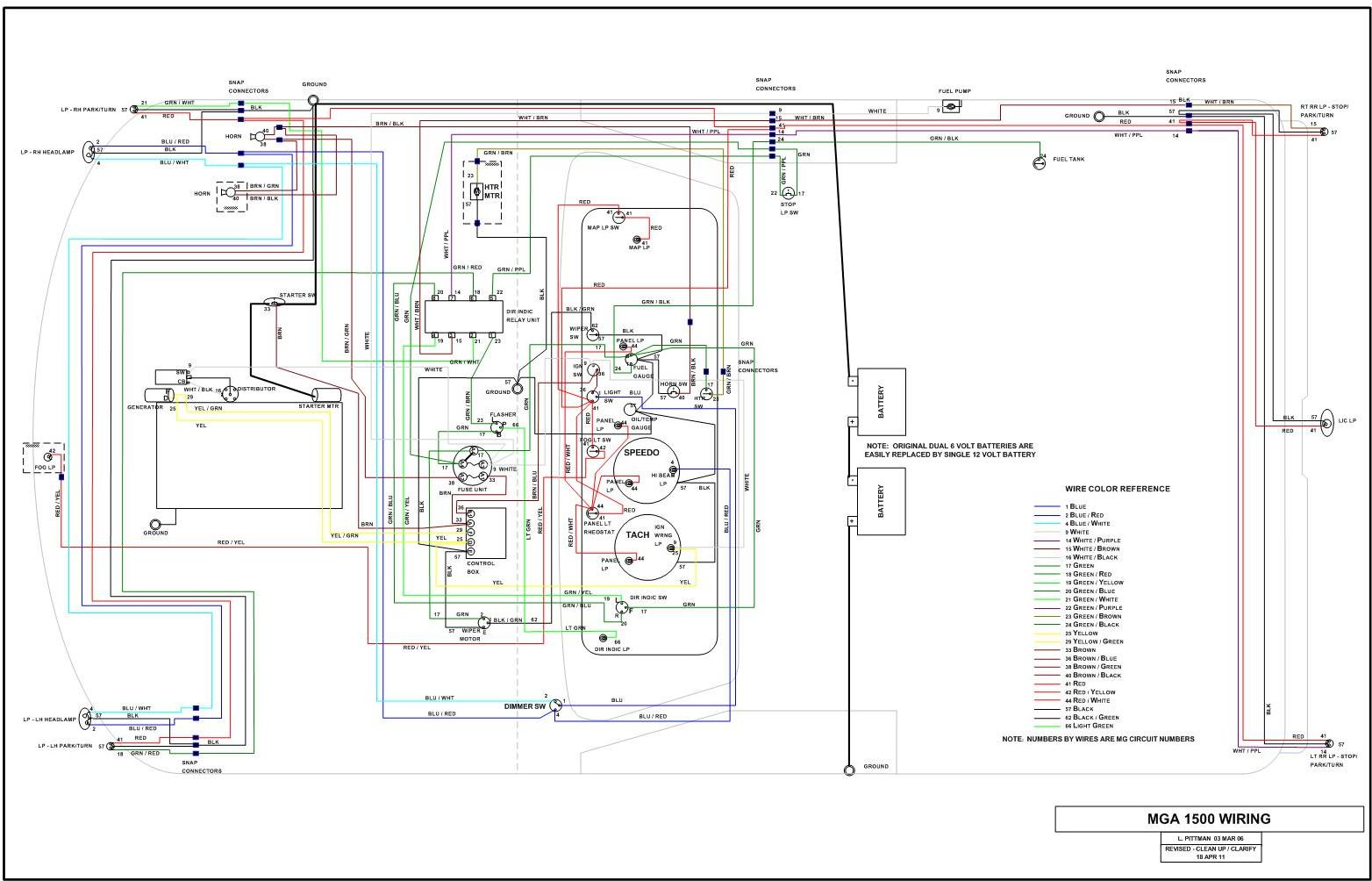 MGA 1500 Wiring mga subassembly wiring mgb wiring harness diagram at sewacar.co